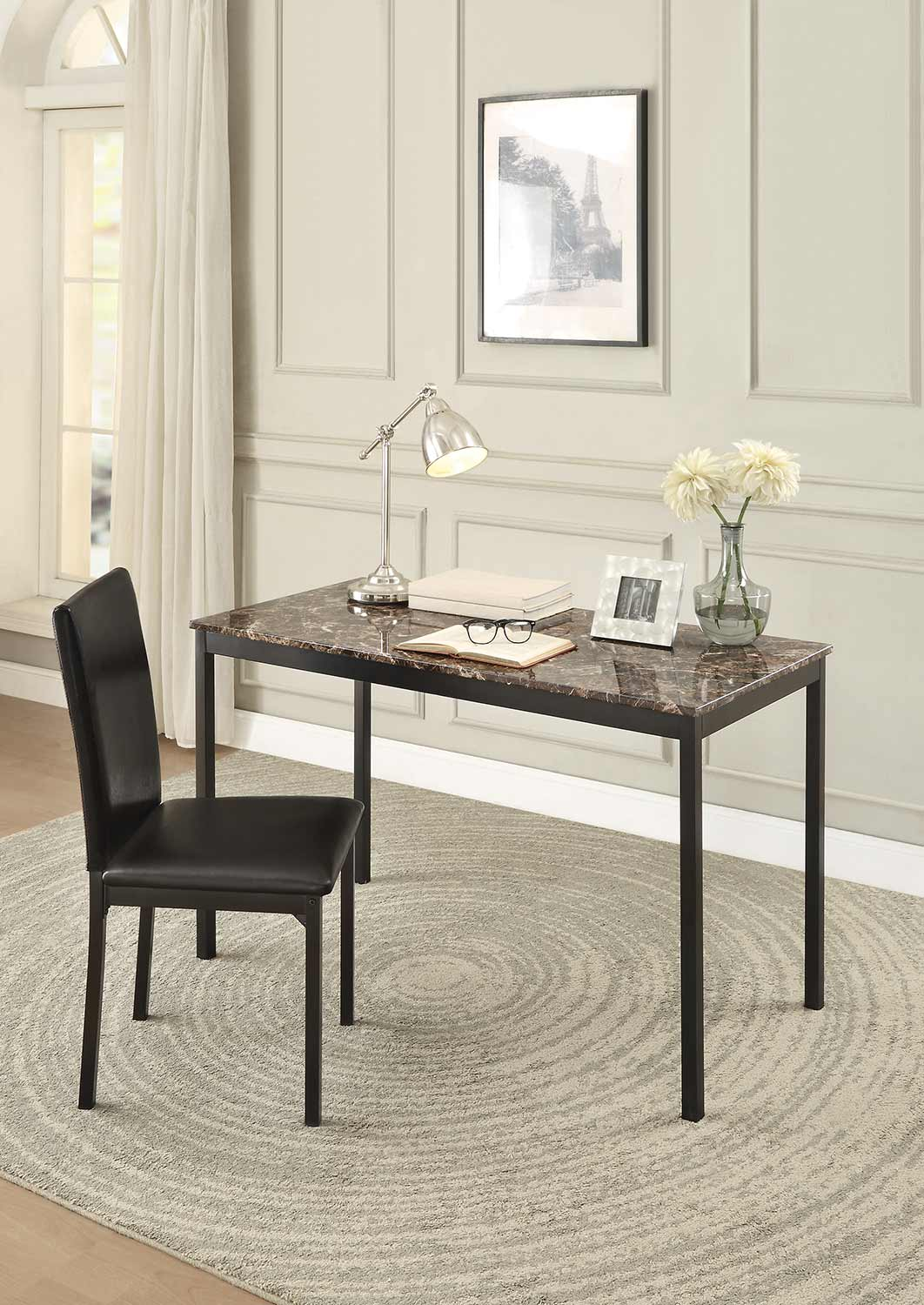 Homelegance Tempe Dark Brown Faux Marble Top Finish Writing Desk Set
