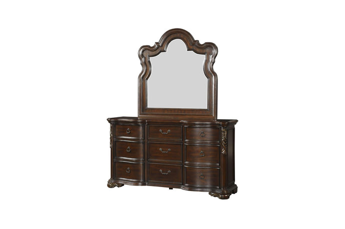 Homelegance Royal Highlands Brown Wood Finish Dresser With Mirror