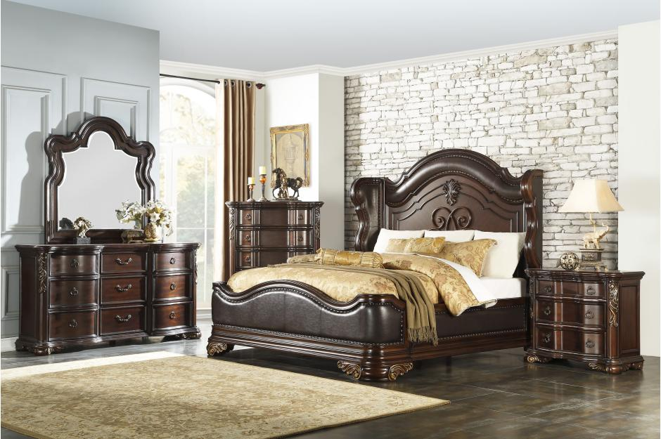 Homelegance Royal Highlands Brown Wood Finish 4 Piece Eastern King Bedroom Set