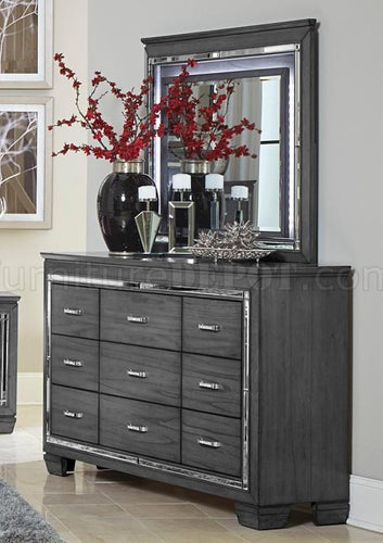 Homelegance Allura Gray LED Lighting Dresser and Mirror Set