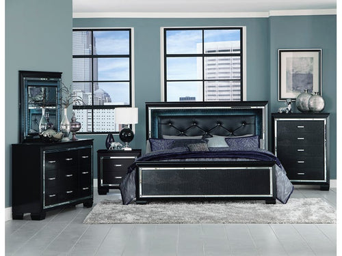 Homelegance Allura Black LED Lighting 4 Pcs Eastern King  Bedroom Set