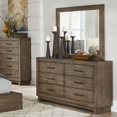 Homelegance Korlan Brown Oak Wood Finish Dresser And Mirror Set