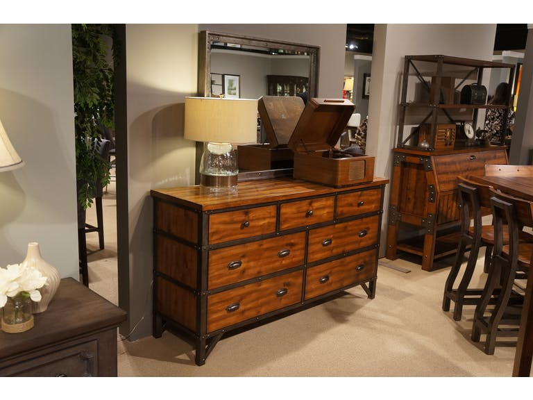 Homelegance Holverson Brown Wood And Metal Finish Dresser And Mirror Set