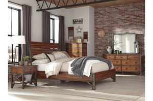 Homelegance Holverson Brown Wood And Metal Finish 4 Piece Eastern King Bedroom Set
