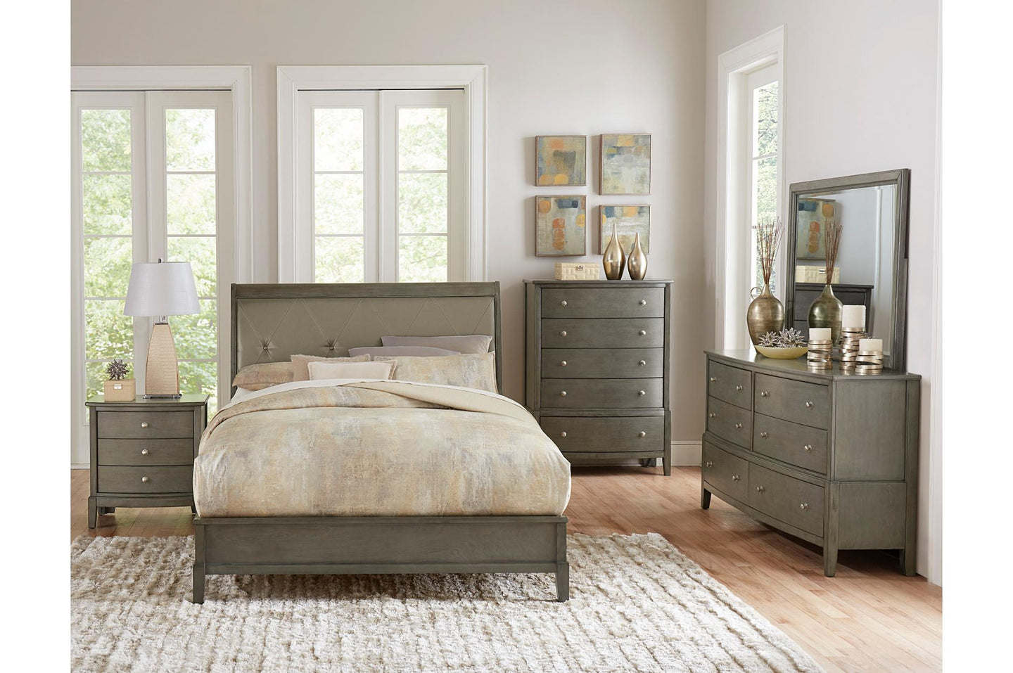 Homelegance Cotterill Gray 4 Pcs Cal King Bedroom Set