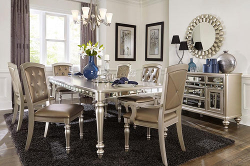 Homelegance Orsina Silver Finish 7 Pcs Dining Table Set