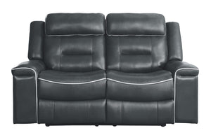 Homelegance 9999DG-2 Darwan Dark Grey Leather Recliner Love Seat