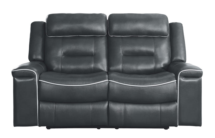 Homelegance Darwan Dark Grey Leather Recliner Love Seat