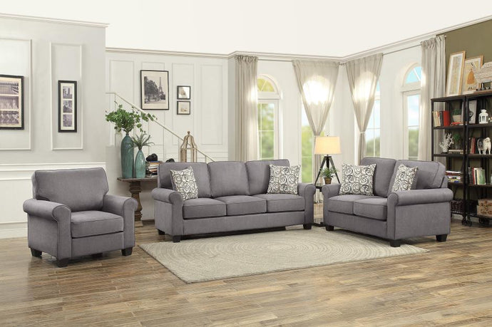 Homelegance 9938GY-3 Selkirk Grey Fabric Finish 3 Piece Sofa Set