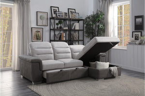 Homelegance Alfio Taupe Fabric Finish Sectional Bed Sofa