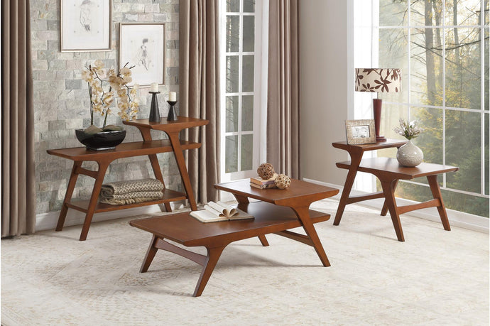 Homelegance Saluki Brown Wood Finish 3 Piece Coffee Table Set