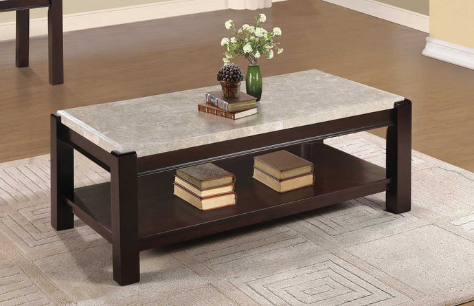 Homelegance 5466-30 Festus Brown Marble Top Coffee Table