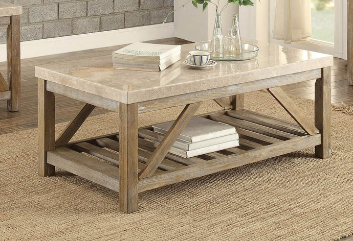 Homelegance 3551-30 Ridley Oak Marble Top Coffee Table