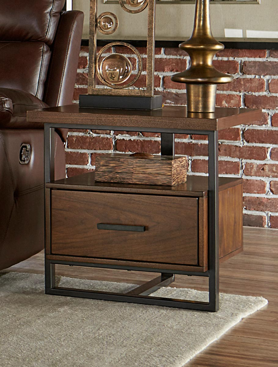 Homelegance Sedly Walnut Wood And Metal Finish End Table
