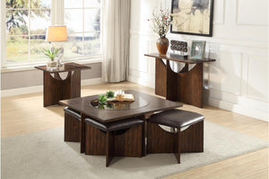 Homelegance Akita Brown Wood Finish 3 Piece Coffee Table Set With Stool