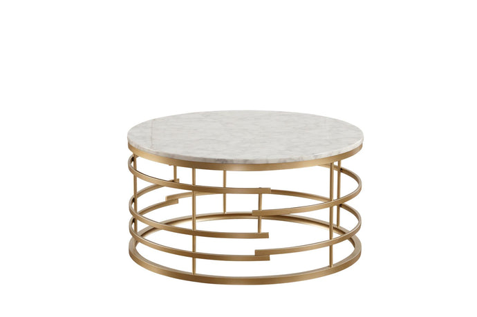 Homelegance 3608-01 Brassica Gold Marble Top Coffee Table
