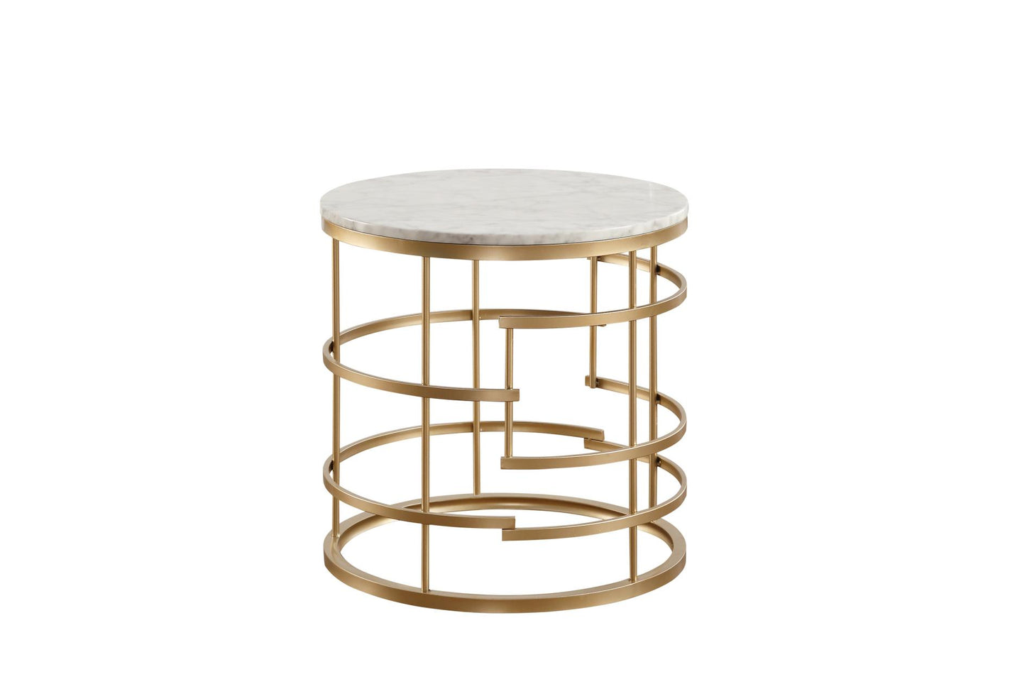 Homelegance Brassica Gold Marble Top And Metal Finish End Table