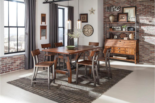 Homelegance Holverson Metal Framing 7 Pcs Counter Height Table Set