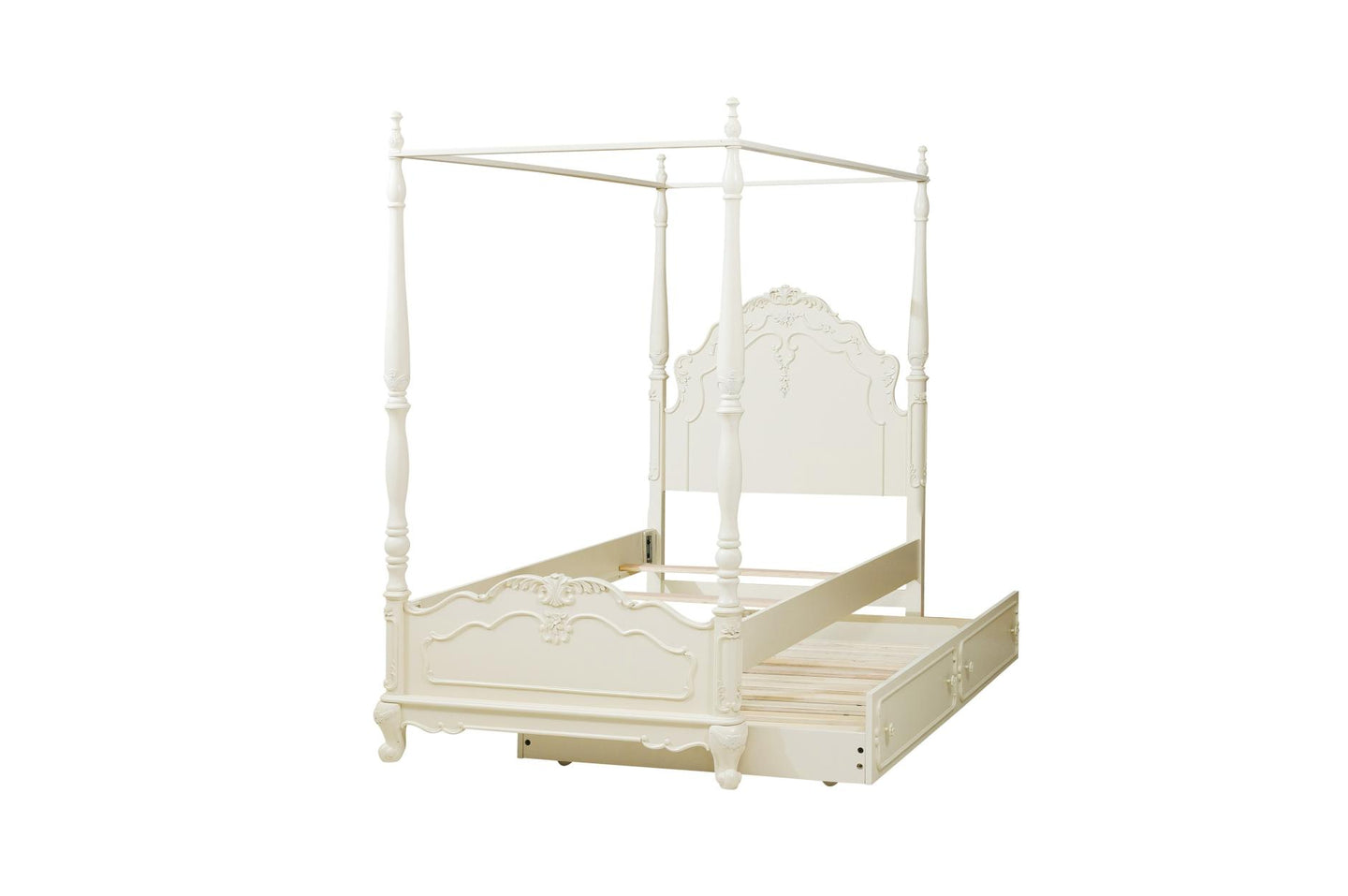 Homelegance Cinderella White Wood Finish Twin Canopy Bed With Trundle