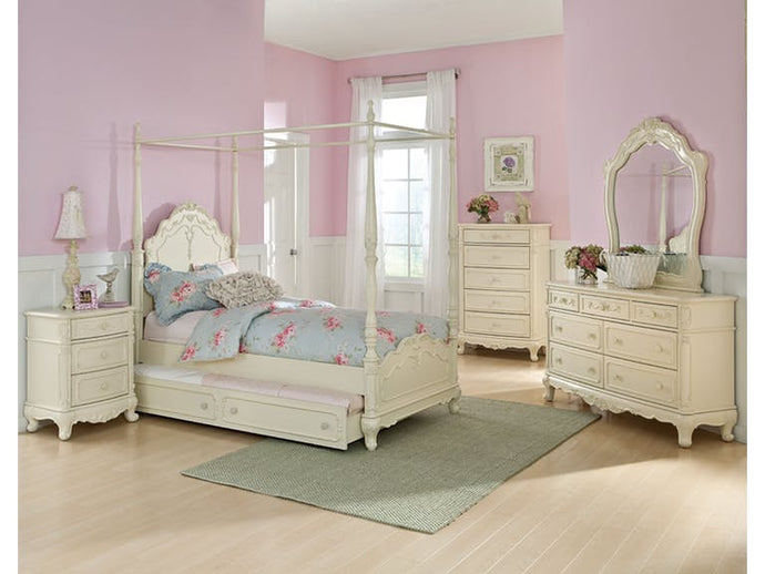 Homelegance 1386TPP-1 Cinderella White Wood 5 Piece Twin Bedroom Set