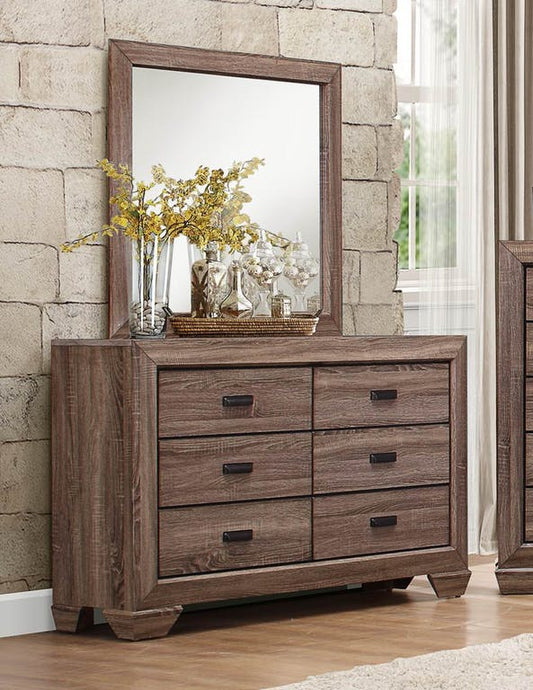 Homelegance Beechnut Natural Wood Finish Dresser With Mirror