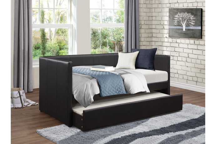 Homelegance 4949BK Adra Black Leather Finish Daybed With Trundle