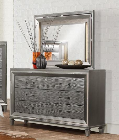 Homelegance Tamsin Silver Wood Finish Dresser With Mirror