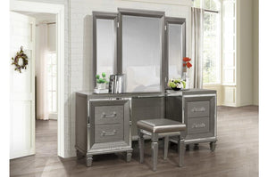 Homelegance Tamsin Silver Wood Finish 3 Piece Vanity Desk Set