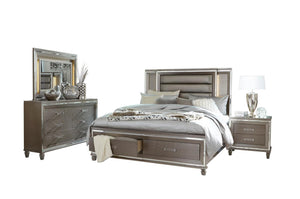 Homelegance Tamsin Silver Wood Finish 4 Piece Eastern King Bedroom Set