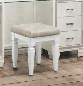 Homelegance Allura White Wood Finish Vanity Stool