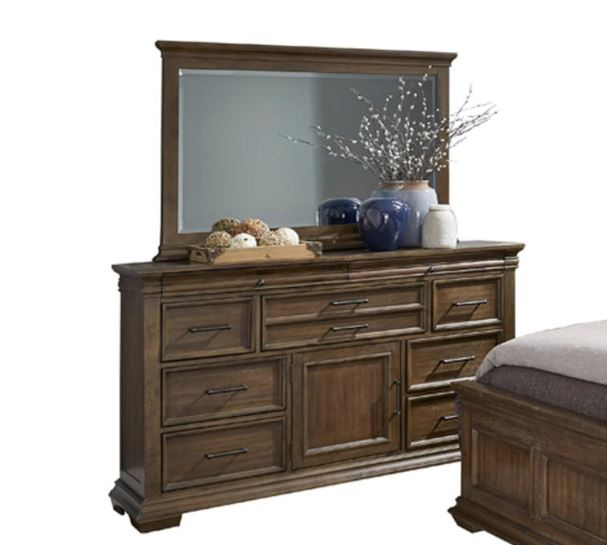 Homelegance Narcine Brown Wood Finish Dresser With Mirror