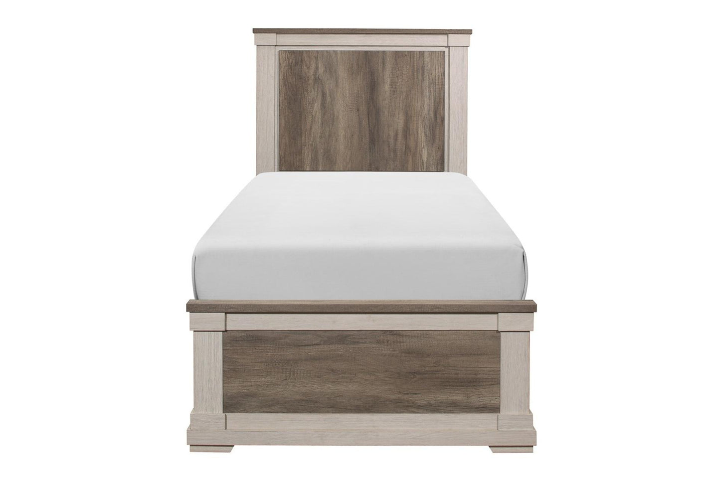 Homelegance Arcadia White And Brown Wood Finish Twin Bed