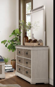 Homelegance Arcadia White And Brown Wood Finish Dresser With Mirror