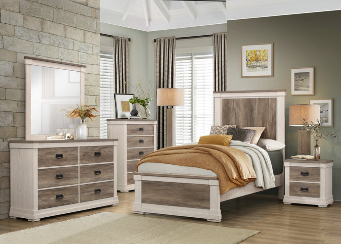 Homelegance Arcadia White And Brown Wood Finish 4 Piece Twin Bedroom Set