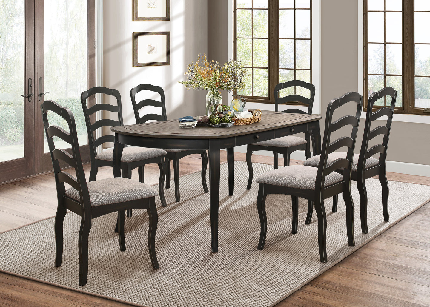 Homelegance Coring Black Wood Finish 7 Piece Dining Table Set