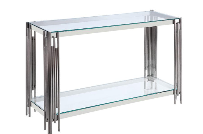 Homelegance Porfirio Silver Glass Finish Console Table