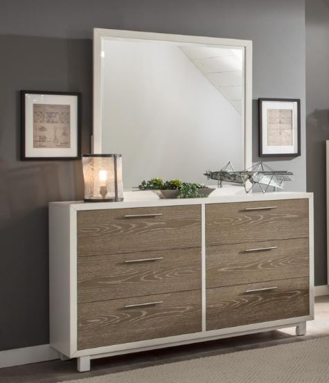 Homelegance Renly White And Oak Wood Finish Dresser With Mirror