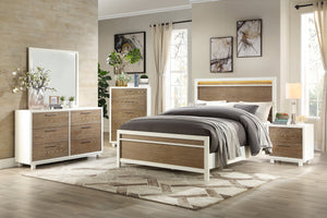 Homelegance Renly White And Oak Wood Finish 4 Piece Full Bedroom Set