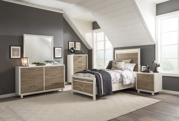 Homelegance Renly White And Oak Wood Finish 4 Piece Twin Bedroom Set