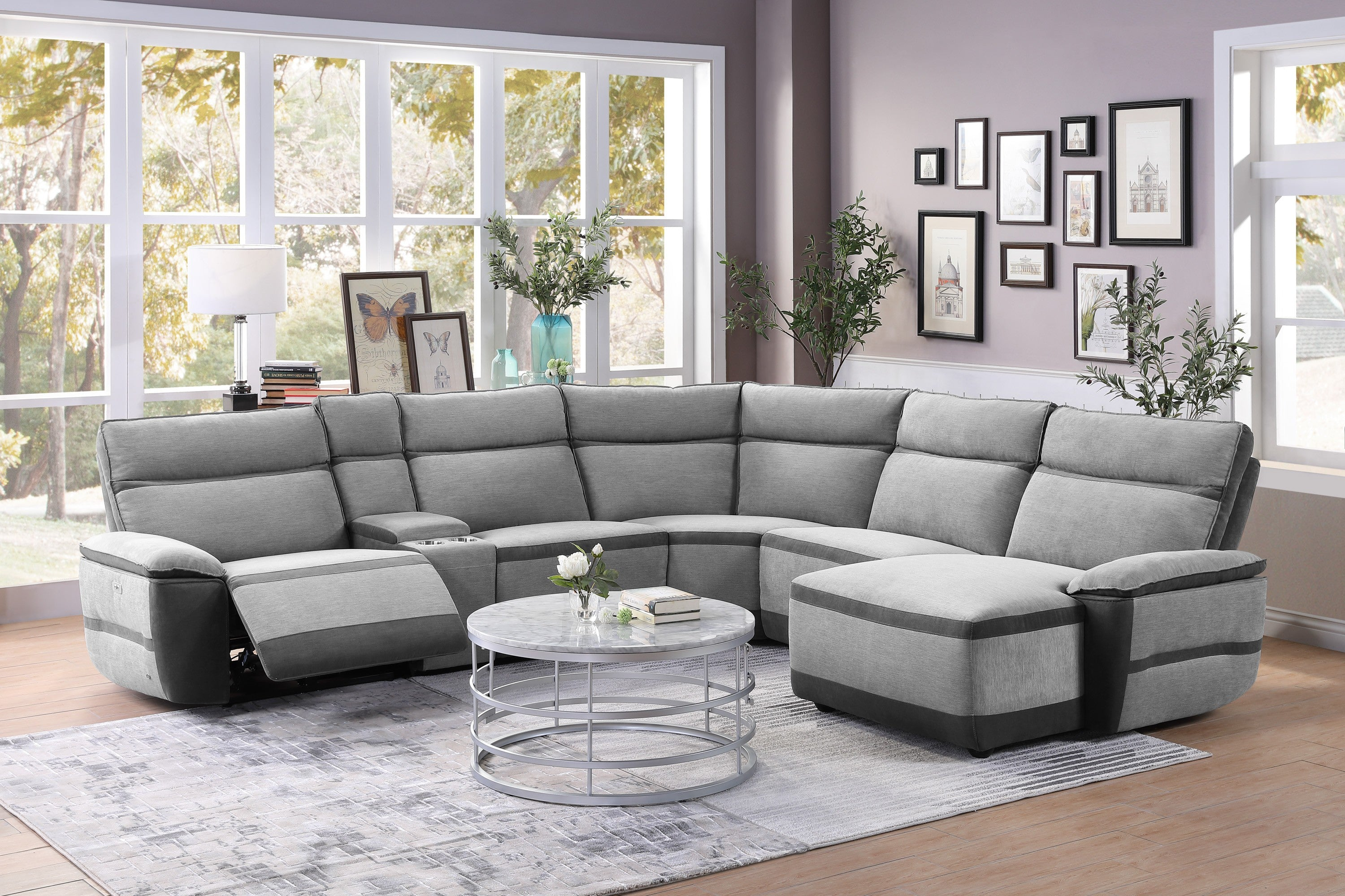 Homelegance Hedera Gray Polyester Finish 6 Piece Sectional Sofa ...
