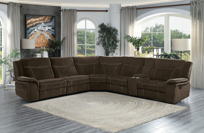 Homelegance Annabelle Brown Polyester Finish Sectional Sofa