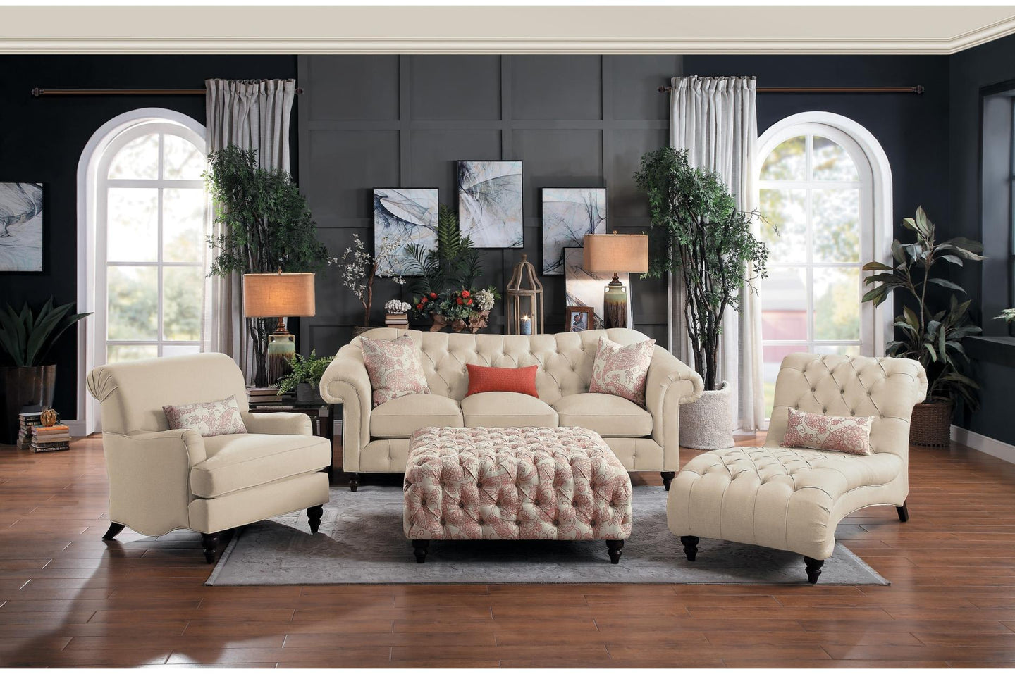 Homelegance Selles Beige Polyester Finish 4 Piece Sofa Set