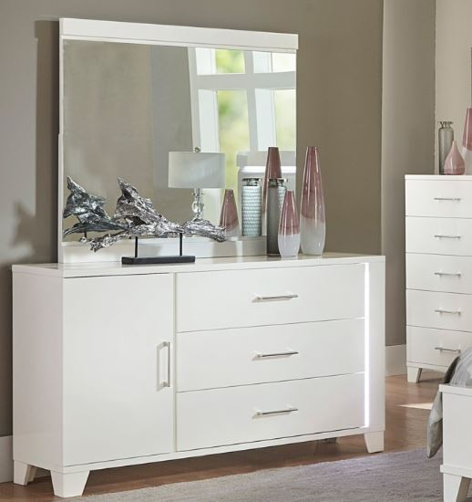 Homelegane Kerren White Wood Finish Dresser With Mirror