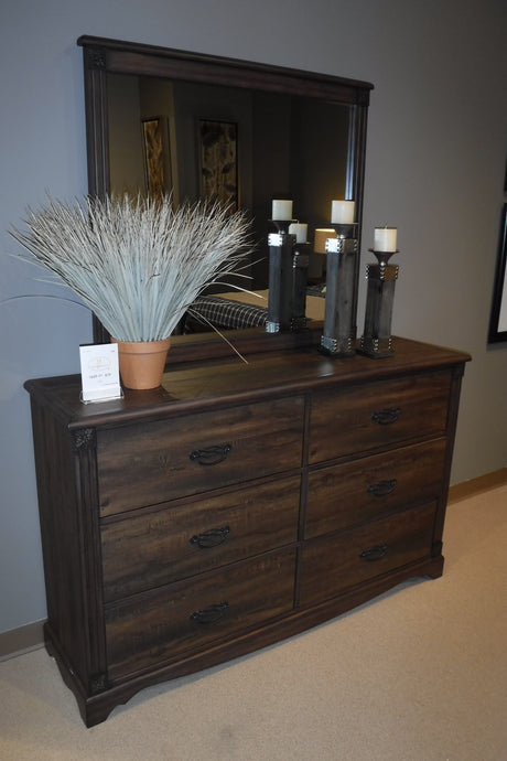 Homelegance Beaver Creek Brown Wood Finish Dresser With Mirror