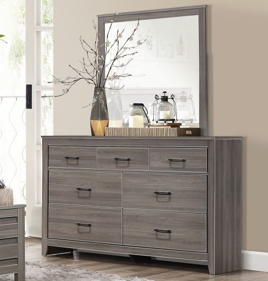Homelegance Waldorf Gray Wood Finish Dresser With Mirror