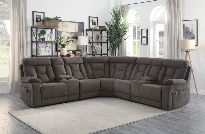 Homelegance Rosnay Chocolate Polyester Finish Sectional Sofa