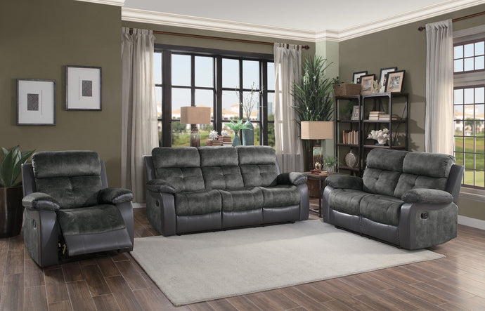 Homelegance Acadia Gray Microfiber Finish 3 Piece Sofa Set