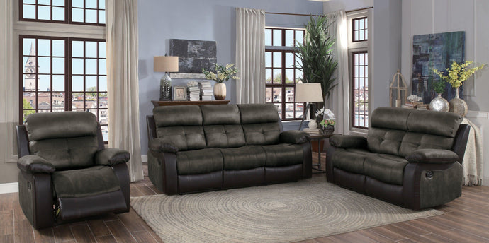 Homelegance Acadia Brown Microfiber Finish 3 Piece Sofa Set