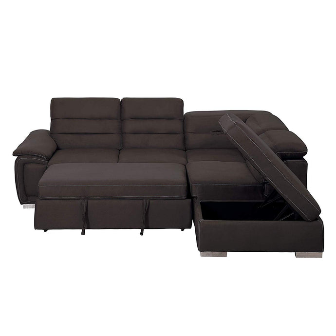 Homelegance Platina Chocolate Polyester Finish Sectional Sofa