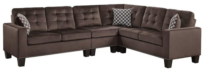 Homelegance Lantana Chocolate Polyester Finish Sectional Sofa